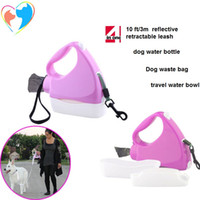 Wholesale Dog Leash Retractable Black - Water Walker 4-in-1 Retractable Reflective Dog Leash pink color 4 in 1 water bottle, bowl, roll of waste bags