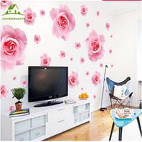dessins de papier peint fleur rose achat en gros de-Gros- Grandes roses roses fleurs vinyle stickers muraux décor à la maison DIY salon canapé 3D Design art stickers Maison Décoration Papier Peint