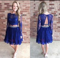 Wholesale Homecoming Cocktail Dresses Royal Blue - Royal Blue Hottest Two Pieces Homecoming Dresses Sheer Lace Long Sleeves Jewel Neck Knee Length Cocktail Graduation Gowns For Girls