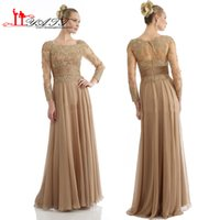 Wholesale Organza Nude Corset - 2016 Graceful Long Sleeve Evening Dresses Beads Appliques Corset Sheer Prom Dress Women Party Gowns Plus Size