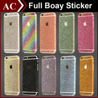 Wholesale Iphone Back Decal - Glitter Powder Full Body Sticker For iPhone 5 5S SE 6 6S Plus Galaxy S6 S7 Edge Front + Back + Sides Bling Skin Decal Matte Screen Protector