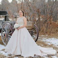 Wholesale Gatsby Wedding Dresses - Gatsby New Fall Winter Sheer Beads Crystal Wedding Dresses High Neck Buttons Back Satin Bride Plus Size Wedding Gowns Robe De Mariage