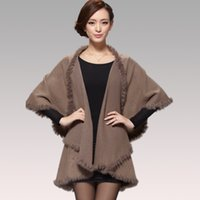 Wholesale Knitted Rabbit Poncho - Wholesale-2015 Winter Autumn Women Cardigan Fashion Rabbit Fur Collar Cashmere Cape Poncho Female Knitted Poncho Coat