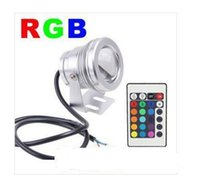 Gros-10W 12V RGB LED Flood éclairage sous-marin LED Light / lampe étanche IP65 Piscine Fontaine Pool lumière With24 Remote Controller Key