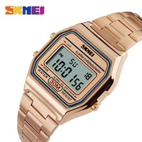 Wholesale Stainless Steel Back Water Resistant - 2017 New Shock Watches Skmei Stainless Steel Case Back G Style Military Rectangle Dial Rose Gold Mens Business Quartz Watches Masculino