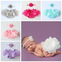 Wholesale Underwear Sets Diapers - 2016 baby bloomers girls ruffle shorts and tops set kids pp pants + flower headbands boutique outfits toddler lace underwear diaper covers