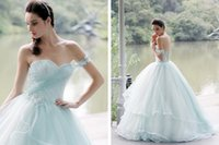 Wholesale one shoulder quinceanera dresses - 2017 Baby Blue Lace Masquerade Quinceanera Dresses One Shouler Long Ball Gown Prom Dresses Custom Sweet 16 Dresses
