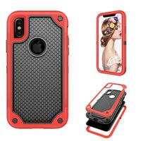 Wholesale Iphone Dual Mesh Case - Hybrid Armor Dual Layer protection 3 in 1 TPU+PC cover Shockproof Anti-slip mesh frame Case for iphone X Opp Bag