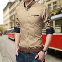 novo vestido de design para homens venda por atacado-Nova Marca Mens Camisas de Vestido de Manga Longa Camisa Ocasional Dos Homens Slim Fit Design de Marca Camisa Formal Camisa social chemise homme