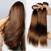 28 parça saç örgüsü toptan satış-Orta Kahverengi Brezilyalı Saç Uzantıları 3 Adet / grup Saf Renk # 4 Ipeksi Düz Saç Dokuma 10-30