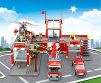 Wholesale Plastic Fireman - 774pcs Super Large Fire Station Educational Building Block Compatible with Lego City Fire Helicopter Brick Fireman brinquedo Toy