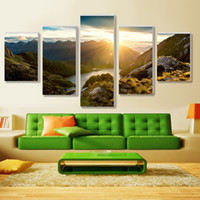 Wholesale Sunrise Wall Art Home Decor - 5 Piece Hot Sell Sunrise Modern Home Wall Decor Canvas picture Art HD Print Painting Set of Each Canvas arts Modular pictures