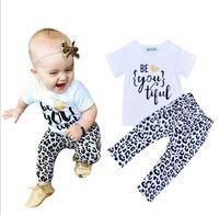 Wholesale Harem Leopard - NWT 2016 INS Cute Baby Girls Boys Outfits Summer 2pc Sets 2piece set Cotton Tops shirt Vest + Leopard Harem Pants Pajamas PJ'S - Beautiful