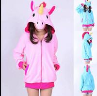 Wholesale Cosplay Sweaters - Unicorn Hoodies Anime Horse Jackets Women Cartoon Zipper Hoodies Cosplay Sweatshirts Coats Costume Sweater Outerwear KKA3108
