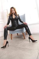Wholesale clubwear teddy lingerie online - Women Sexy Lingerie Clubwear Black Punk PU Faux Leather Catsuit Long Sleeve Zipper Front Cosplay Costume Jumpsuit Bodysuit