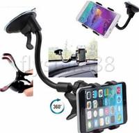 крепление приборной панели автомобиля оптовых-Автомобильное крепление, длинная рукоятка универсального лобового стекла автомобильного держателя сотового телефона с сильной присоской и зажимом X для iPhone X iphone 8 Plus 7 6s