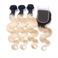 saç teli 613 toptan satış-Brezilyalı 1B / 613 Vücut Dalga Sarışın Ombre İnsan Saç Örgüleri Kapatma Ücretsiz Orta 3 Bölüm ile 4 Demetleri çift Atkı İnsan Saç Uzantıları Boyanabilir