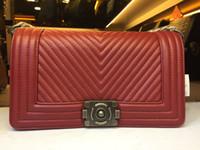 Wholesale Animal Shaped Straws - LE BOY Bag 67086 67087 V Shaped SheepskinChain Bag Flap Bag Silver Chain hw