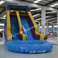 8-11 Years outdoor water slides for kids - Classic design best quality inflatable pool water slide kids outdoor equipment inflatable water slide with pool for sale
