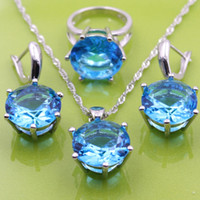 Wholesale Mystic Topaz Rings For Women - 925 Sterling Silver Jewelry Sets With Mystic Natural Blue Topaz Earrings Pendant Necklace Ring For Women Free Gift