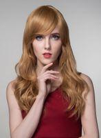 полный парик шнурка 27 цвет оптовых-Полный парик шнурка шелка ALYSSA Лучший бразильский прямой блондин цвет # 27 с волосами ребенка девственные волосы 100% парик фронта шнурка человеческих волос натуральные парики