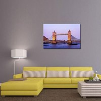 Wholesale London Wall Art - 1 Picture Combination London Tower Bridge From The River Thames Large Fine Art Oil On Canvas Painting Wall art For Home Decor