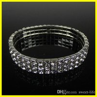 Wholesale Cheap Wedding Jewelry For Brides - 2017 Cheap 15006 3 Row Rhinestone Stretch Bangle Wedding Bracelet Bridal Jewelry Free Ship Cheap Bracelet for Bride Party Evening Prom 15006