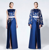 Wholesale Mothers High - Navy Blue Arabic Evening Dresses With Cape Wraps High Split Satin Appliques Prom Dresses Mother Of Bride Dress Formal Party Gowns