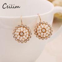 Wholesale Pearl Earings Wedding - Hot selliing european luxurious sunflower earings fashion jewelry imitation pearl earrings for women in wedding bohemia style