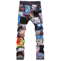 Wholesale Denim Splice Men - Men's personality patchwork spliced ripped denim jeans Male fashion slim colored patch buttons fly straight pants Flag Patch Free shipping