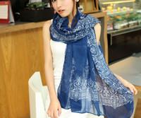 ingrosso pashminas blu-Fasion Sciarpa blu e bianca in porcellana da donna foulard scialli e sciarpe morbide chiffon stampa hijab pashminas foulard sciarpa Voile Sciarpa