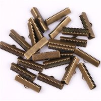 50pcs Silver Gold Plated Textured End Caps Crimp Beads Caps para DIY Jóias Leather Cord Making