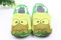 Wholesale frog shoes - Baby Walking Shoes Unisex Cute Green Frog Soft Cotton Fabric Cartoon Animal Upper Casual Shoes Non-slip