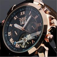 mais barato relógios mecânicos venda por atacado-Menor preço ! JARAGAR marca Multifuncional Turbilhão de Luxo Automático Mecânico Homens Relógios De Pulso Homem relógio de Pulso high-end relógio