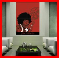 Wholesale Red Wallpaper Rolls - Jimi Hendrix Smoke Red woodstock Poster print wall art 8 parts giant huge Poster print wall art free shipping NO429