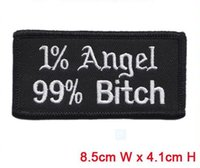 Wholesale Custom Hat Embroidery Wholesale - angel bitch letters embroidery patches iron on hot cut border use in cloth hat or bag free shipping can be custom