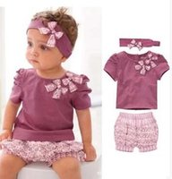 Wholesale Amissa Clothing - AMISSA 3-piece clothing set Baby Girls headband +Baby Girl tops +shorts Girls Baby Outfits Sets