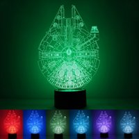 Wholesale timing lamp - Three Dimensional Night Lights Long Time Use 3D Lamp Antistatic Millennium Falcon LED Light Top Quality 33rm B R