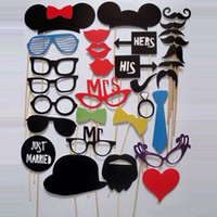 Wholesale Wedding Props Wholesale - 2016 New 31pcs Funny Photo booth props with lips moustaches glasses and sticks party wedding Decorations Prop free shipping