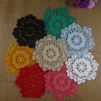 "Wholesale Round Handmade Tablecloth - Wholesale- 4PCS Handmade Crocheted Doilies 8"" 20cm cup Mat Pad tablecloth coasters round Dial Wadding Home Decoration"