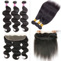 Wholesale Remy Human Hair Wholesale Pricing - Brazilian Straight Remy Human Hair Bundles with 13x4 Lace Frontal Closure Body Wave Hair Weaves Soft Lace Frontal Closure Wholesale Price