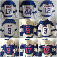Wholesale Mens Sweaters Baseball - Mens Newest 17 Kris Bryant 9 Javier Baez 44 Anthony Rizzo 3 David Ross 12 Kyle Schwarber Hooded Sweater Baseball Jersey All Stitched