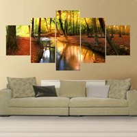 Wholesale Forest Stream - 5 Piece Modern Canvas Art Cuadros Decoracion Forest Stream Canvas Painting Art Pintura Wall Pictures For Living Room No Frame