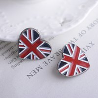 Wholesale Korean Flag Shirts - Korean version of the British Heart-shaped Torx suit alloy brooch pin badge shirt customized British flag brooch