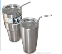 Wholesale 304 yeti Stainless Steel Bend Drinking Straw With Cleaning Brush for Double Wall Vacuum Insulated Yeti oz oz Rambler Tumbler Cups