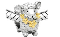 Wholesale Wholesale Metal Sheep Charms - 20Pcs Lot Antique Silver Sheep Metal Big Hole Beads Charms Beads Fit European Bracelets For Chirstmas Style DIY Charm Pendant