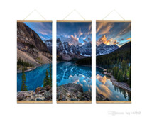 Wholesale Lake Landscapes Paintings - YIJIAHE Nature Print Scroll Canvas Painting Lake 3 Piece Canvas Art Wall Pictures for Living Room Large Wall Art FJ9