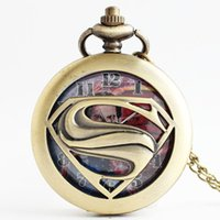 Wholesale superman quartz watches - 2016 DC Superhero Superman S necklace Pocket Watch Bronze locket Fob quartz Watches men women child fashion jewelry gift 230172