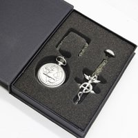 Wholesale Women Ring Watches - FullMetal Alchemist Quartz Pocket Watch with Necklace Ring Set Men Women Jewelry Set Gifts Box