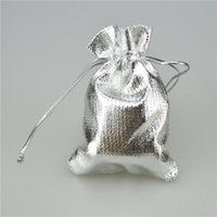 Wholesale Satin Organza Gift Bag - Fashion Silver Foil Organza Plated Gauze Satin Jewelry Pouches Bags Christmas Nice Gift Pouches Bag 7x9cm 9x12cm 10x15cm 13x18cm